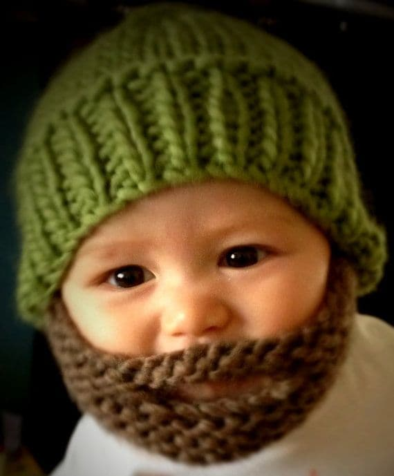 knitted beard hat for baby photo - 1