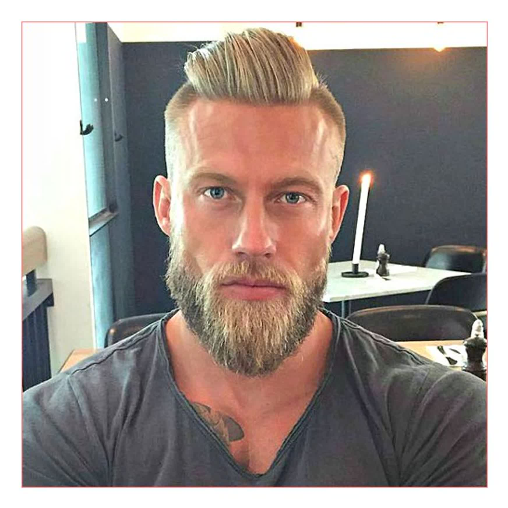 undercut hairstyle with beard photo - 1
