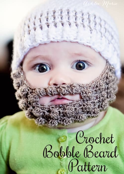crochet baby hat with beard 1