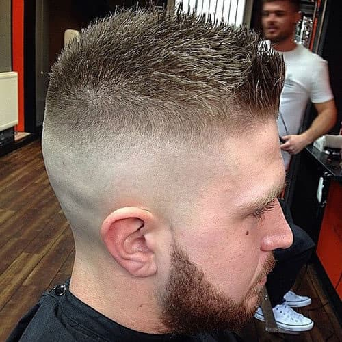 comb over fade with beard 1