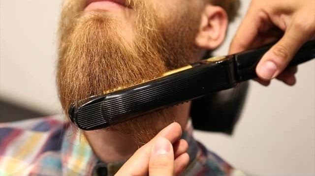how to straighten a curly beard 1